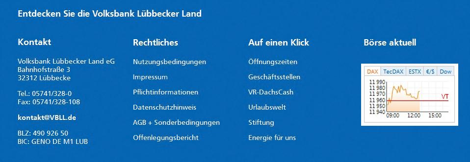 Infoplattform Märkte Börsen Volksbank Lübbecker Land