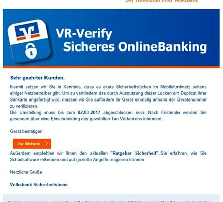Phishing Trickbetrüger Volksbank Lübbecker Land