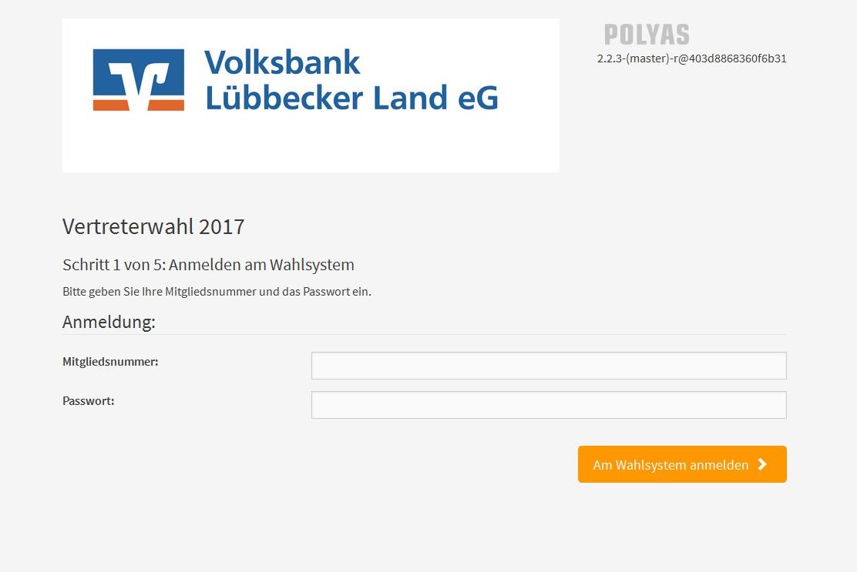 Onlinewahl Volksbank Lübbecker Land 2017