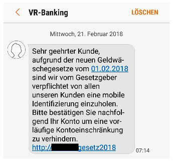Phishing-SMS Volksbank Lübbecker Land 2018