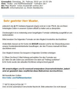 E-Mail-Falle Volksbank Lübbecker Land 2019